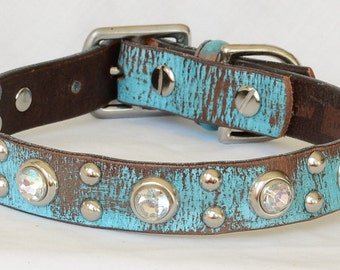 """Turquoise Leather Dog Collar, Brown and Turquoise Leather Dog Collar, Leather Dog Collar, Size Medium fits a 15 -17"""" neck"""