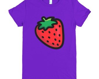 Cute Summer Strawberry T-shirt Printed on American Apparel 2102 Fine Jersey Short Sleeve Women T-shirt. Available for men & in other colors!