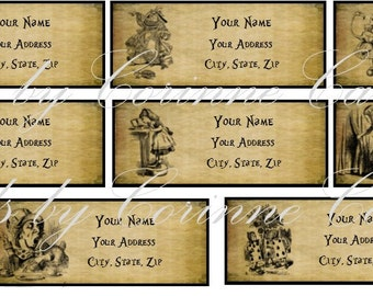 33 Alice in Wonderland address labels laminated glossy adhesive with pictures