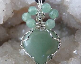 Adventurine Necklace, Adventurine Heart, Green Heart Necklace, Green Necklace, Adventurine, Sterling Silver Adventurine Heart Necklace