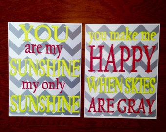 You are my sunshine chevron wall art