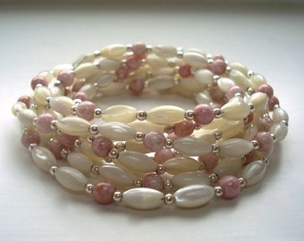 White Necklace - Pink Necklace - Beaded Necklace - Summer Jewelry - Simple Necklace - Long Necklace - Delicate Necklace - Neutral necklace