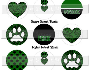 INSTANT DOWNLOAD Blank Green Black  White Paw School  Team Mascot  1 inch Circle Bottlecap Images 4x6 sheet