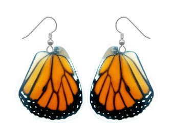 Real Monarch Butterfly Wing Earrings - Fashion Jewelry, Dangle Earrings, Lightweight, Natural, Colorful