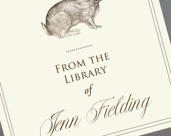 Bookplate Rabbit,Hare, in Sepia print on off white, set of 24.