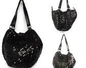 Black sequined bag   Vintage Black Purse, Evening Bag, Handbag, Sequin Paillettes Vintage Handbag Shoulder Bag