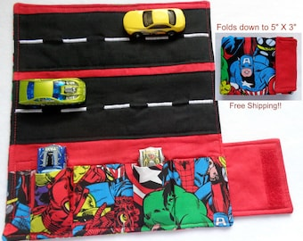 Super Hero Print Car Wallet/ Car roll up/Toy car holder/ Free Shipping/ Ready to ship.