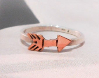 Copper Arrow Ring in Sterling Silver