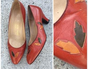 Vintage Italian leather tan leaf heels size 6
