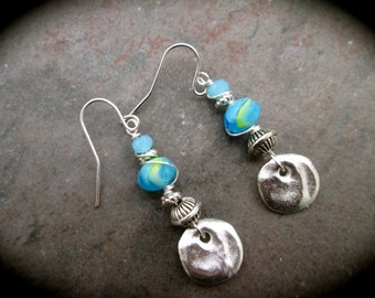 SALE Wire Wrapped Sea Blue Turquoise Earrings with Stainless Steel ear wires and Hammered Silver Disk Detail Great Gift