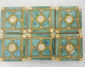 Handmade Decorative  Mosaic Ceramic Tiles Dogwood Pattern set of 6 Mint Green