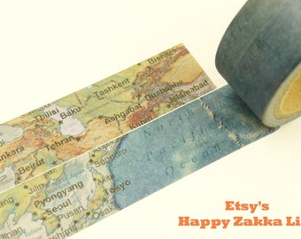 World Map - Japanese Washi Masking Tape - 20mm Wide - 7.6 yard
