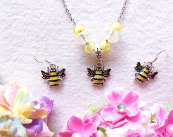 Bee Set of Necklace and Earrings