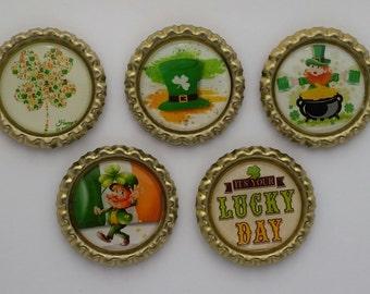 Lucky Day, St. Patrick's, green, shamrock, bottle cap magnet set