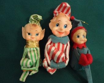 Vintage Craft Supply - Three 1950s Christmas Pixies dressed in felt, plastic heads, soiled or in need of repair, repurpose