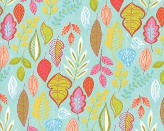Colorful Leaf Fabric on Aqua - Wing & Leaf by Gina Martin from Moda - Fat Quarter
