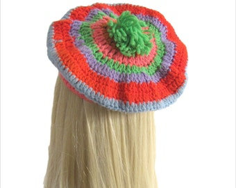 Vintage 1980's Beret l Colorful Crochet Pom Pom Beret l Vintage Hat