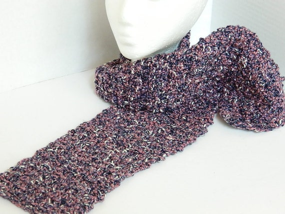 Women's Knitted Scarf - Hand Knit Ladies Accessories - Women's Long Textured scarf - Handmade Navy and Pink Scarf - OOAK Lynne's Designs