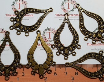 6 pcs per pack 48x25mm Chandelier Filigree Earring Component Antique Bronze Finish Lead free Pewter