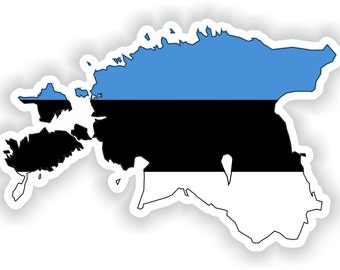 Estonia Map Flag Silhouette Sticker for Laptop Book Fridge Guitar Motorcycle Helmet ToolBox Door PC Boat