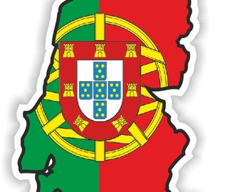 Portugal Map Flag Silhouette Sticker for Laptop Book Fridge Guitar Motorcycle Helmet ToolBox Door PC Boat