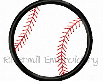 Small Baseball or Softball Applique Machine Embroidery Design - 3 Sizes
