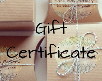 Back Bay Pottery Gift Certificate