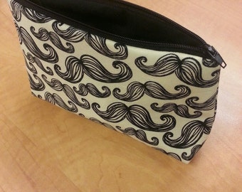 Zipper Pouch - Yellow and with black Mustache Print