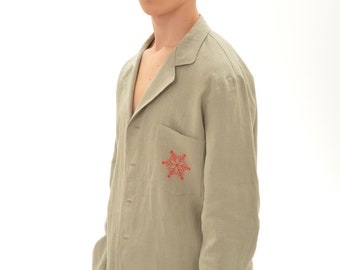 Pure Linen Christmas Pajama For Men/ Luxury Linen Pajama With Snowflake handmade Embroidery