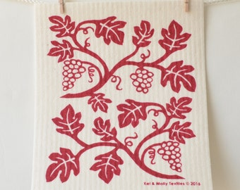 2 European Sponge Cloths: Grapevines, Green or Wine Red