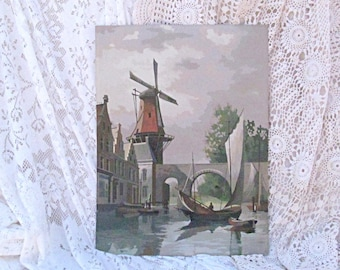 Vintage Paint by Number Large Scale Windmill an Rowboat Mid Century Aqua Blue Gray Landscape Vintage Home Decor Wall Hanging