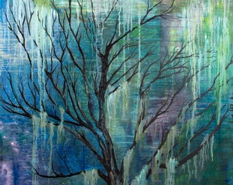 woodland,forest,tree,magical,abstract,mystical,fairy tale,green,blue,tree art,nature,painting,art,wall hanging,artwork,print,digital print