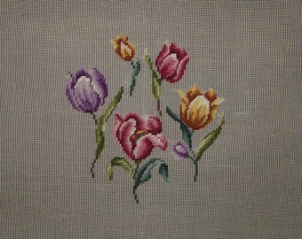 Vintage Tulip Flowers Pre-Stitched Needlepoint Canvas Pink Purple Yellow 23 x 23 in