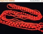 Now On Sale Vintage Red Beaded Necklace Long 3 Strand Flapper Style Lucite Jewelry 1960 1970 Mad Men Mod Retro Rockabilly Glamour Girl Style