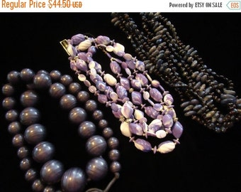 Now On Sale 3 Vintage Chunky Purple Lucite Necklaces Mid Century 1950's 60's Collectible Jewelry Mad Men Mod Retro Rockabilly Glamour Girl A