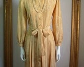 NOW 25% OFF --- Vintage 1970's Beige Silk Dress - Size 10/12