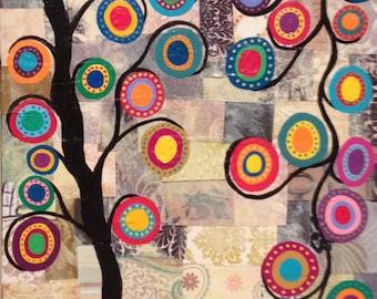 Kerri Ambrosino Art PRINT Mexican Folk Art Flowers Tree of Life Patch Quilt