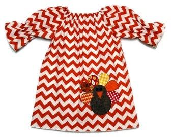 Girls Thanksgiving Peasant Dress Turkey Applique Orange Chevron Size 3-6 mo, 6-12 mo, 18 mo, 2T, 3T, 4T, 5, 6, 8