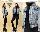15% OFF 1DAY SALE 80s 90s Vtg Classic Guess Jeans Acid Wash Denim Jacket Fitted Sleeve Georges Marciano Button Up Grunge Punk Stone Wash Coa