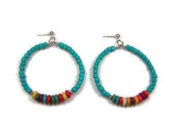 Turquoise and Multi Color Beaded Hoops