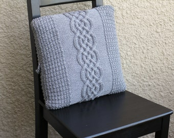Knit cable pillow case, knit pillowcase, decorative pillow, cable knitted pillow cover, cable knit cushion in grey color
