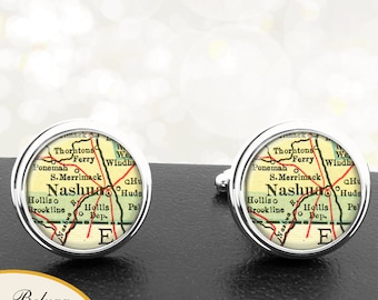 Map Cufflinks Nashua NH Cuff Links State of New Hampshire for Groomsmen Wedding Party Fathers Dads Men