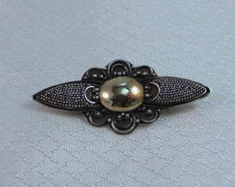 C1900's Art Deco, Victorian Sterling Brooch With Gold Vermeil Center
