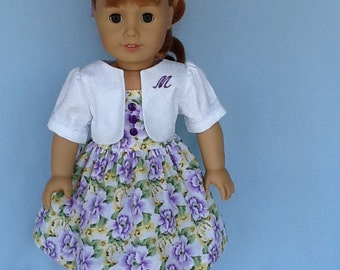 Fits American girl doll and other 18 inch dolls.   Sundress and monogrammed jacket for MaryEllen.