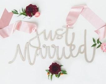 JUST MARRIED wedding chair sign | wedding decor