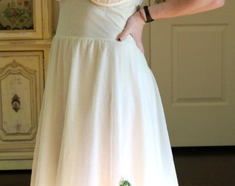 Valentine Sale Nightgown in Winter White with Red and Green accent  c. 1960's