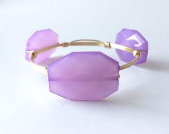 Lavender Wire Wrapped Bangle Bracelet