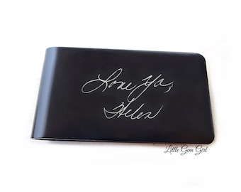 Money Clip Engraved Custom Handwriting - Personalized Signature - Memorial Keepsake Dad Gift - High Quality Anodized Aluminum in 4 Colors