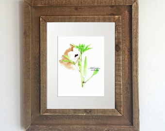 Botanical Print: Watercolor Okra - Home Decor, Kitchen Decor, Vegetable Decor, Gifts for Gardeners, Vegetarian Gifts, Vegetable Paintings