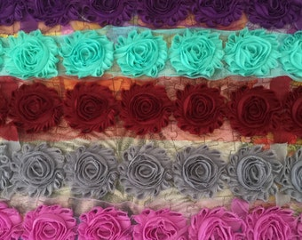 5 Yards Shabby Flowers - Purple , Opal , Wine , Gray and Bright Violet
